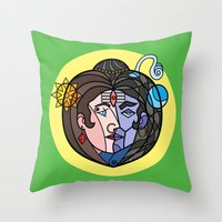 shiva Throw Pillows featuring Shiva Parvati by Karthik