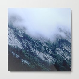 Descending Foggy Clouds Gently Tucking In The Mountains Metal Print
