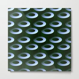 Geometric Architectural Pattern in Silver & Gray-Green Metal Print