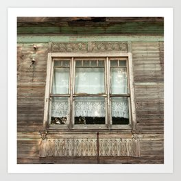 "Travel & street photography ""window of typical wooden house"" in Istanbul, Turkey, square fine art photo print.  Art Print"