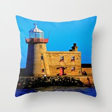 Howth Lighthouse Morning Throw Pillow