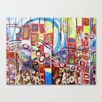 coasters Canvas Prints featuring Roller Coaster by Pajaritaflora