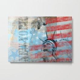 Lady Liberty Stars and Stripes Patriotic Artwork Metal Print