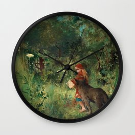Little Red Riding Hood - Carl Larsson 1881 Wall Clock
