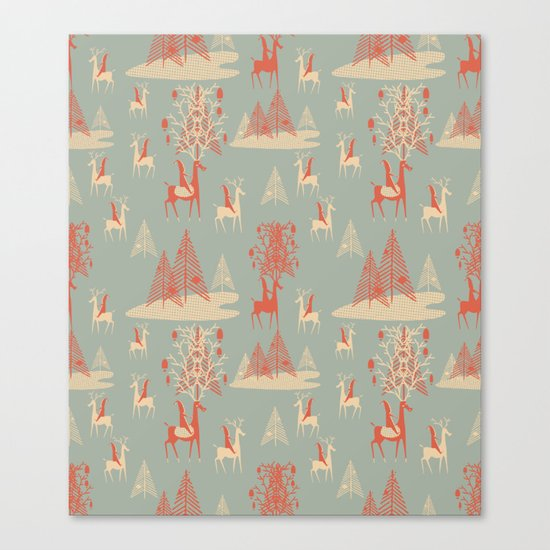 Reindeer, Trees and Elves Canvas Print