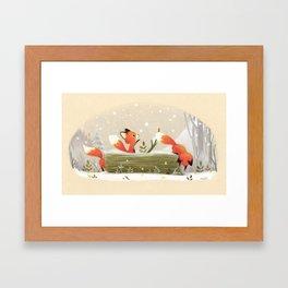 Little foxes Framed Art Print