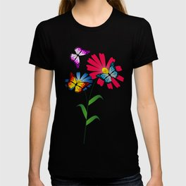 Colorful butterflies and flowers T-shirt