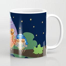 Sleepy Owl Family under a full moon Coffee Mug