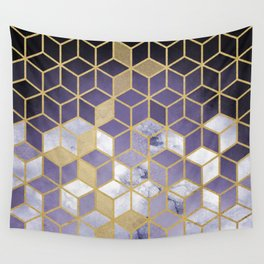 Shades Of Purple Cubes Pattern Wall Tapestry