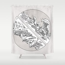 Mountains // Waves Shower Curtain