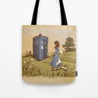 hallion Tote Bags featuring Adventure in the Great Wide Somewhere by Karen Hallion Illustrations