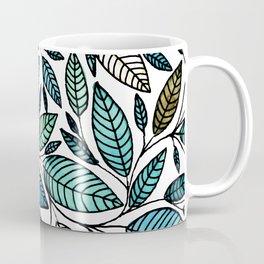 Leaf Illustration - Blue Green - P07 010 Coffee Mug