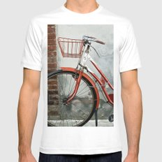 Red bicycle MEDIUM White Mens Fitted Tee