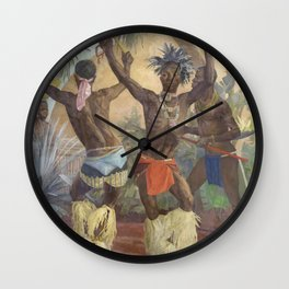 African American Masterpiece, Zulu Dancers, Celebration Portrait of Africa painting by Winifred Hardman Wall Clock