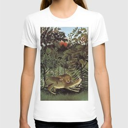 THE HUNGRY LION ATTACKING AN ANTELOPE - ROUSSEAU T-shirt