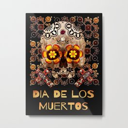 Day of The Dead Skull and Mexican Tile Pattern Metal Print