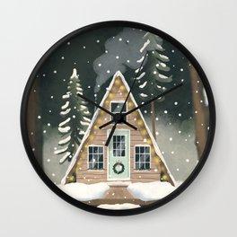 Christmas Tiny Cabin Wall Clock