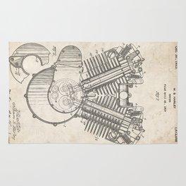 HARLEY DAVIDSON ENGINE 1923 PATENT ART PRINT POSTER HD VINTAGE V TWIN CYCLE GIFT Rug