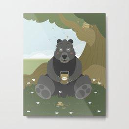 Bear with a jar of honey Metal Print