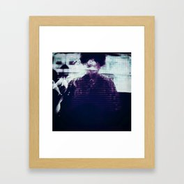 woman on a bus Framed Art Print