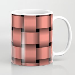 Large Salmon Pink Weave Coffee Mug