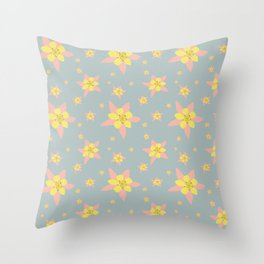Columbines Scattered Throw Pillow
