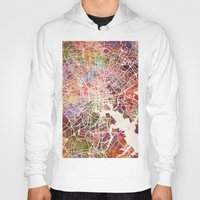 baltimore Hoodies featuring Baltimore map by MapMapMaps.Watercolors