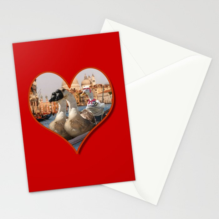 Geese on a Romantic Gondola Ride Stationery Cards