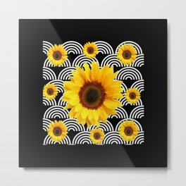 Decorative Black & Yellow Art Deco Sunflowers Metal Print
