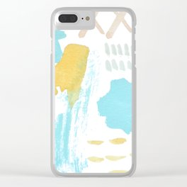 Summer blue yellow abstract Clear iPhone Case