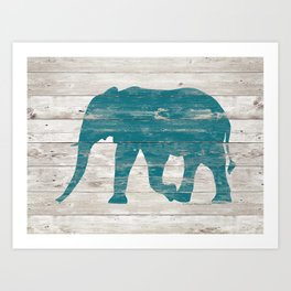 Rustic Teal Elephant on White Painted Wood A222a Art Print