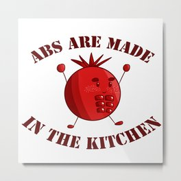 Six-Pack Tomato - Abs are made in the Kitchen Metal Print