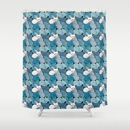 Teal Curled Up Bunny Cats Shower Curtain