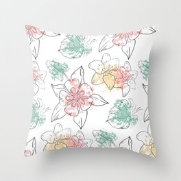 Flower Floral Leaves Pattern Spring Face Mask Throw Pillow