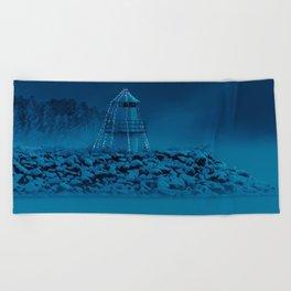 Pier and lighthouse Beach Towel