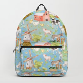 Farm Life - Little Cute Animals In A Meadow - On Blue  Backpack