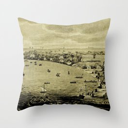 Vintage Bridgetown Barbados Pictorial Map (1820) Throw Pillow