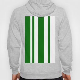 Mixed Vertical Stripes - White and Dark Green Hoody