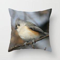 Tufted Titmouse Bird Throw Pillow