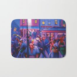 African American Masterpiece 'Casey and Mae in the Street' by Archibald Motley Bath Mat