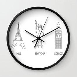 Three Cities Wall Clock