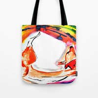 kitsune Tote Bags featuring Kitsune by Karina Geddes Illustration