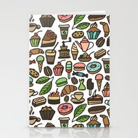 macaroon Stationery Cards featuring Coffee and pastry. by Julia Badeeva