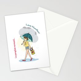 Love Honfleur-Le parapluie normand Stationery Cards