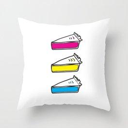 3 Pies - CMYK/White Throw Pillow