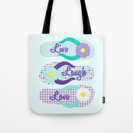 Live - Laugh - Love in Turquoise & Purple Tote Bag