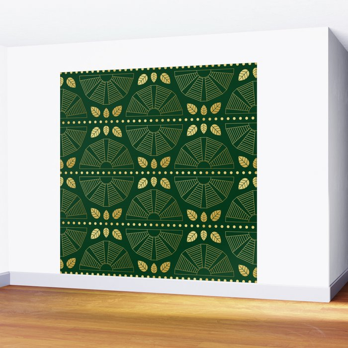 Emerald Art Deco Fan Wall Mural