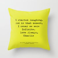 the perks of being a wallflower Throw Pillows featuring Perks of Being a Wallflower  by Mackenzie Hahn