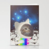 space cat Stationery Cards featuring Space Cat by omgcatz