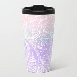 Hand painted white blush pink lavender watercolor floral Travel Mug